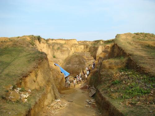 Archaeological survey of india digging at Charaideo Maidam