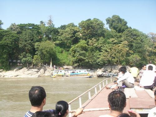 Ferry carrying passengers to Umananda Temple in Guwahati