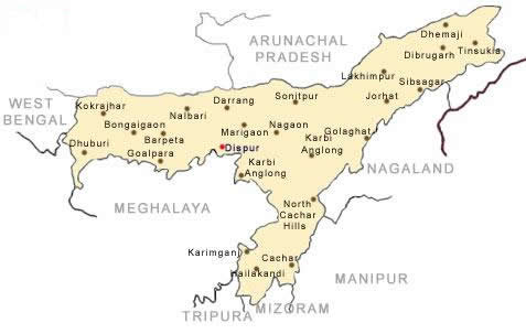 Map Of Assam